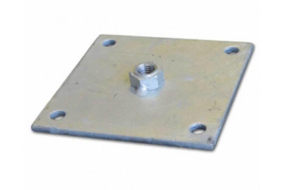 Bevestigingsplaatje betonpoer 14x14 cm met moer m16